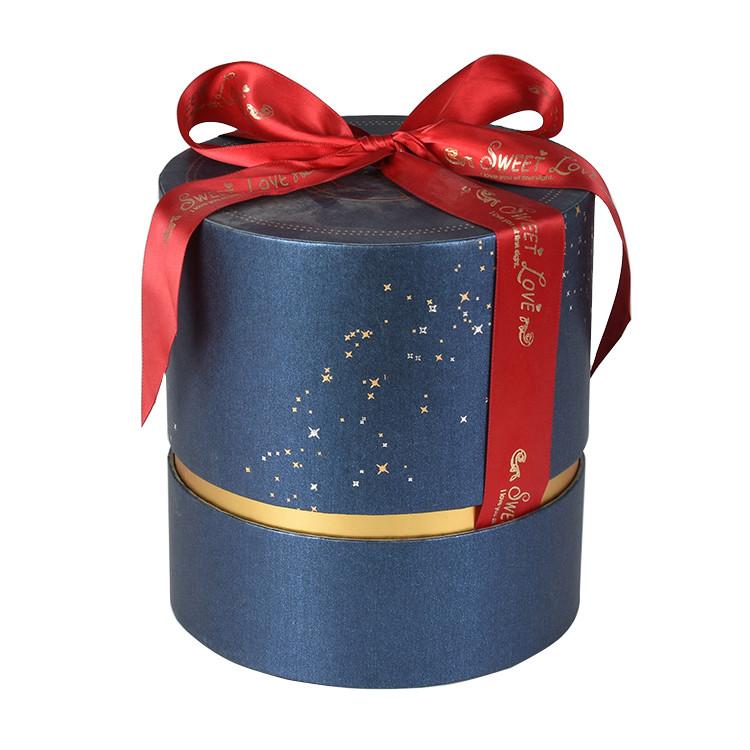 Custom Round Paper Tube Packaging Gold Foil Blue Tube Gift Box