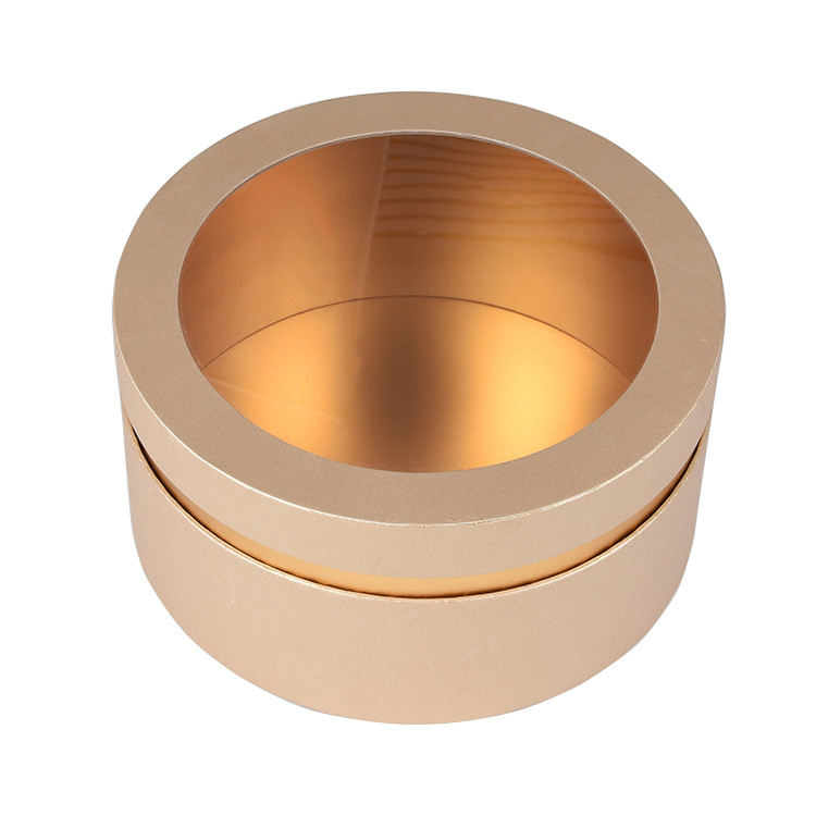 Rose Gold Cylinder Packaging Cardboard Round Gift Round Box with Clear Plastic Window Lid