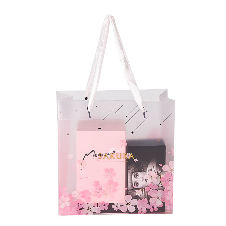 Logo Customized Cosmetics Packaging Durable Pp Shopping Clear Plastic Bags with Nylon Handle