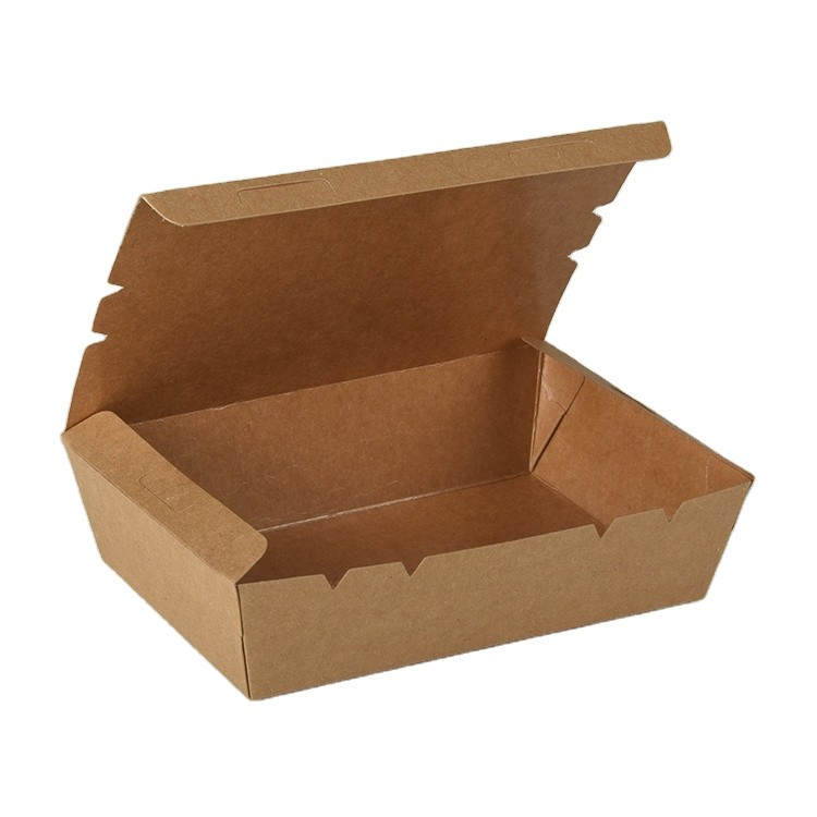Eco-friendly Wholesale Kraft Takeout Food Packaging Box Disposable Paper Lunch Box